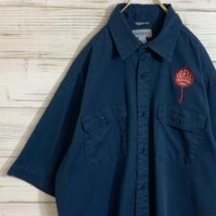 "Thumbnail of ""【大人気】カーハート ワークシャツ 刺繍 企業ロゴ ネイビー L"""