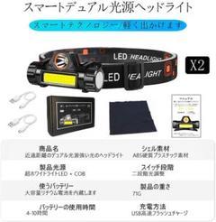 "Thumbnail of ""回転式LEDヘッドライト USB充電式 2個セット  キャンプ 夜釣り 登山"""