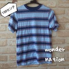 "Thumbnail of ""★wonder nation★中古★ボーダー 柄 半袖 Tシャツ★水色★150"""