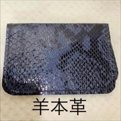 "Thumbnail of ""羊本革 ヘビ皮型押し カードホルダー 名刺入れ 定期入れ"""