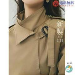 "Thumbnail of ""工装風衣女秋88新品種中長期型過膝コートカーキ気質コート6"""