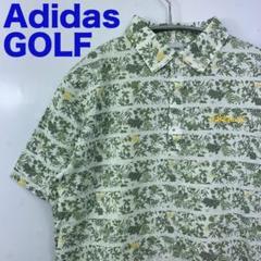 "Thumbnail of ""Adidas GOLF アディダス ゴルフウェア 総柄ポロシャツ 緑 草花柄 M"""