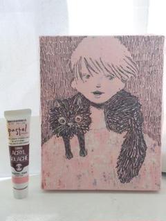 """Thumbnail of """"黒猫と青年、オリジナル画"""""""