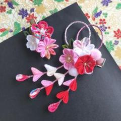 "Thumbnail of ""D-300 赤とピンクmix 髪飾りセット 七五三 結婚式 浴衣 甚平 お祭り"""