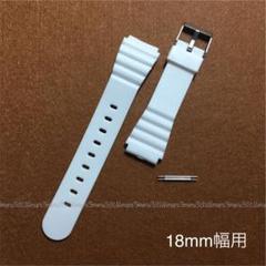 "Thumbnail of ""ホワイト☆白♪カラー樹脂製ベルト,取付幅18mm用♪バネ棒2本付属,腕時計ベルト"""