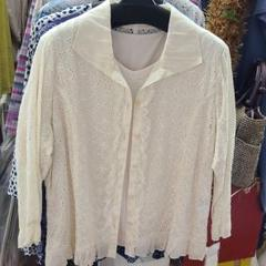 "Thumbnail of ""Lサイズ❗婦人オシャレ8分袖ブラウス+半袖Tシャツのアンサンブルです‼️"""