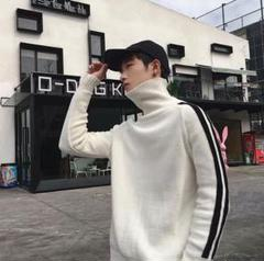 "Thumbnail of ""大人気!ブラック ハイネック ニット セーター ホワイト モノトーン シンプル"""