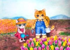 """Thumbnail of """"チューリップ畑と猫の兄妹 イラスト 絵画 水彩 B5サイズ"""""""