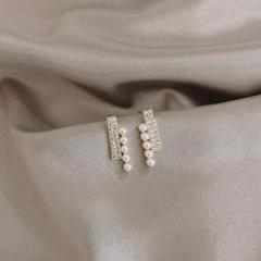新品pearl & zirconia bar pierce ◯s925 post