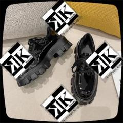 "Thumbnail of ""M②4 レディース 革靴 ローファー & 靴紐 光沢 ロリータ スニーカー 底厚"""