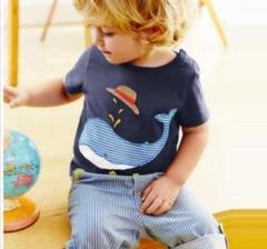"Thumbnail of ""S サイズ クジラ柄 男の子ボーダーパンツ 2点セット短袖Tシャツ&五分丈パンツ"""