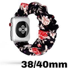 """Thumbnail of """"Apple watch ベルト ブラック 花柄 38/40mm シュシュ バンド"""""""