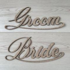 "Thumbnail of ""木製ウェディングチェアサイン Groom & Bride"""