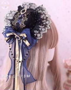"""Thumbnail of """"SZRミニハット01 ブラック レースリボン ロリータ Lolita風A"""""""