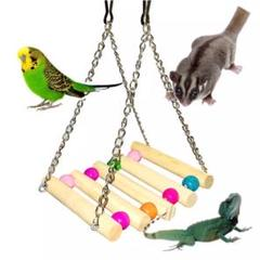 """Thumbnail of """"小動物用ハンモックペットブランコ デグーフクロモモンガハムスター鳥⭐️木製おもちゃ"""""""