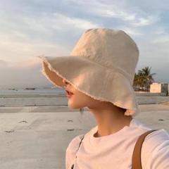 "Thumbnail of ""フリンジハット 韓国ファッション ベージュ大人気"""