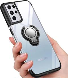 "Thumbnail of ""Galaxy S21 Ultra ケース リング クリア TPU 透明 ブラック"""