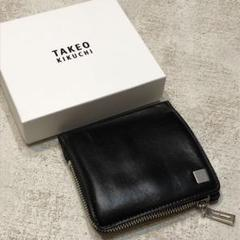 "Thumbnail of ""TAKEO KIKUTI 革 財布 黒 ダメージ加工 メンズ 折り畳み財布 中古"""