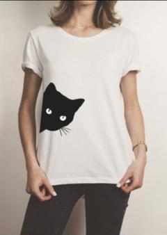 """Thumbnail of """"カジュアル シンプル Tシャツ 猫デザイン 春夏 トレンド 白T"""""""