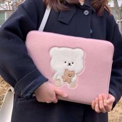 "Thumbnail of ""最安値 熊 大人気 ピンク パソコンケース 13インチ かわいい 韓国雑貨 クマ"""