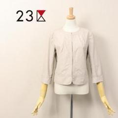 """Thumbnail of """"L3732 美品☆23区 7分袖 ノーカラー ジャケット グレージュ 38"""""""