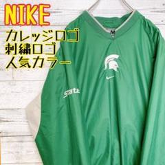 "Thumbnail of ""【カレッジロゴ 】 NIKE ナイキ ナイロンジャケット グリーン 緑 刺繍ロゴ"""