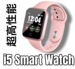 i5 スマートウォッチ スポーツ オシャレ ギフト プレゼント ピンク +