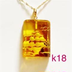 "Thumbnail of ""K18 鼈甲?  琥珀? ペンダント ネックレストップ ※オリジナル513"""