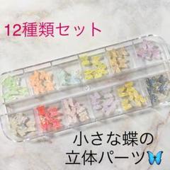 "Thumbnail of ""ハンドメイド素材♡ネイルパーツ♡カラフルで小さな蝶の立体パーツ!ピンセット付き"""