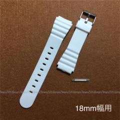 "Thumbnail of ""ホワイト,白♪カラー腕時計ベルト◇取付幅18mm用♪バネ棒2本付属,樹脂製ベルト"""