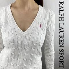 """Thumbnail of """"RALPH LAUREN SPORT Sサイズ ホワイトVネックニット セーター"""""""