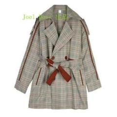 """Thumbnail of """"格子風の服の女性の中で長い新型の韓国版のゆったりとした春秋のイギリス風のオーC"""""""