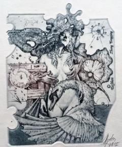 "Thumbnail of ""028・Gunter Hujber作『レダと白鳥No.8』エロティック蔵書票"""