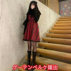 """Thumbnail of """"春の新婦人服ショートs-lの女の子型赤いチェックのタイツのワンピース"""""""