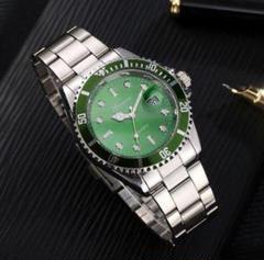 "Thumbnail of ""新品♬送料込み メンズ ビジネス クォーツ 腕時計 シルバー×緑 F"""