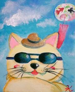 "Thumbnail of ""★『夏の風を感じて』絵画 原画 猫 夏 風鈴 麦わら帽子 F3キャンバス"""