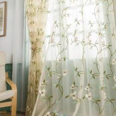 "Thumbnail of ""2)1番-刺繍レース カーテン(緑刺繍)2枚セット150*200cm"""