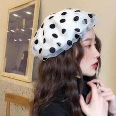 "Thumbnail of ""シースルー♥ドット ベレー帽 ホワイト"""
