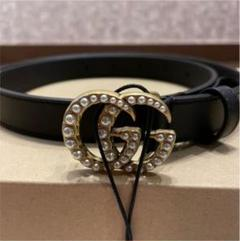 """Thumbnail of """"GUCCI BELT WITE PEARL DOUBLE G 70"""""""