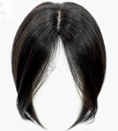 "Thumbnail of ""ご好評です♬。全人毛★人工皮膚分け目★髪の長さ22~24cm自然な黒髪のウィッグ"""