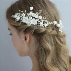 """Thumbnail of """"☆お花3点セット ゴールドコームヘッドドレス ブライダルヘアアクセサリー 結婚式"""""""