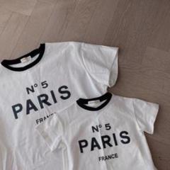 "Thumbnail of ""【新品】親子お洒落 ペア Paris Tシャツ 2枚セット(各子供・大人サイズ)"""