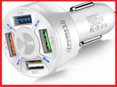 """Thumbnail of """"USB シガーソケット 4口 車でスマホ充電 白黒 QC3.0"""""""