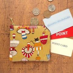 """Thumbnail of """"コインケース*黒猫とキノコ・オリーブa*ラミネート生地2ポケット財布カードケース"""""""