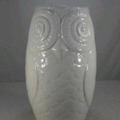 "Thumbnail of ""送料無料!陶器製、傘立て。幸福のフクロウ、輝くホワイト、希少品、小難あり8-3"""
