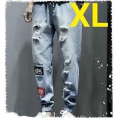 """Thumbnail of """"★土日限定★クラッシュデニム ダメージデニム ウエストゴム ライトブルー XL"""""""