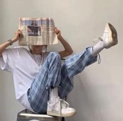 """Thumbnail of """"大人気⭐️青チェック柄 ワイドレッグパンツ ワイドパンツ イージーパンツ⭐️ブルー"""""""