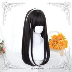 """Thumbnail of """"H197 黒 Lolita かつら+ネット ロングストレート ウィッグ3"""""""
