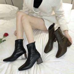 """Thumbnail of """"ブーツ、超人気、黒のショートブーツ,プラットフォーム、ハイヒール小さな革の靴9"""""""