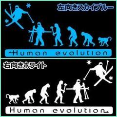 "Thumbnail of ""✌2枚で値引✌20cm人類の進化【スキー編】アルペン雪山オリジナルステッカー"""